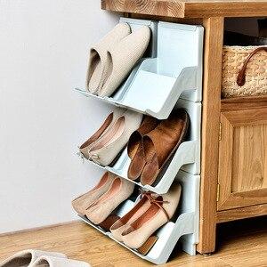 Image 4 - プラスチック靴ラックリビングルームシューズ棚 2 個自己アセンブリ家庭用垂直複合靴収納キャビネット戸口職人