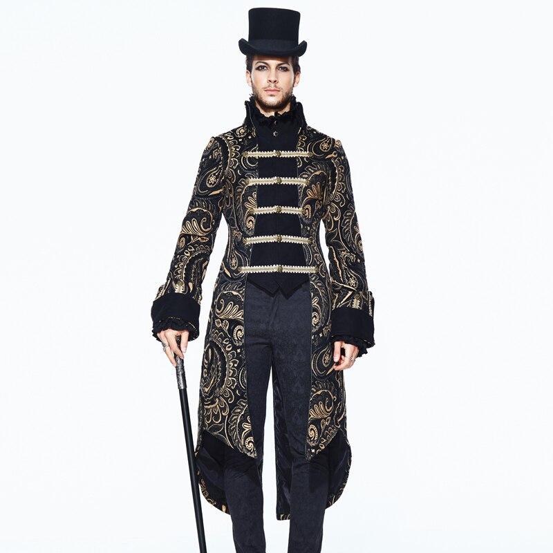 Retrò da Uomo Vittoriano Giacca Diavolo Gothic Fashion Marrone Floccaggio Stampato Singolo Pulsante Casual Giacca Uomini Steampunk delle Cappotto