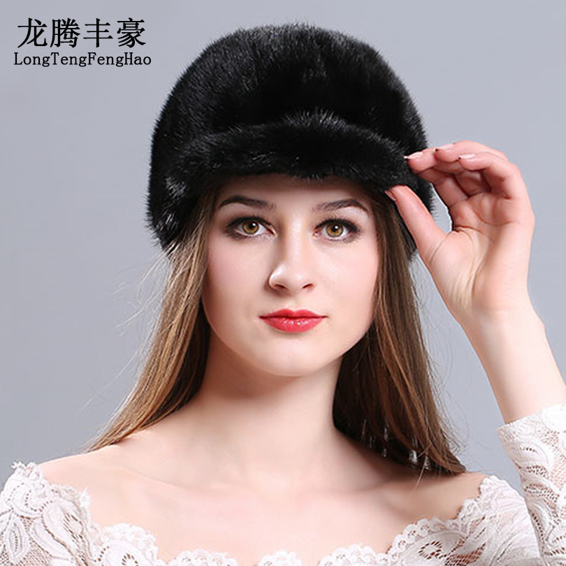 New Style Mink Fur Cap Hat Handmade Real Mink Fur Knight Cap Warm Winter Fur Hat Fashion Lady Real Fur Sunshade Hat