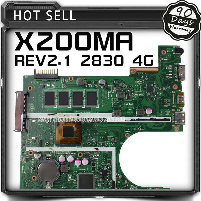 X200MA F200MA F200M X200M Laptop motherboard For Asus REV2.1 Mainboard With N2830 CPU Integrated fully test for asus x550ea x550ep laptop motherboard cpu e1 2100 e1 2500 4gb non integrated mainboard 100% fully tested