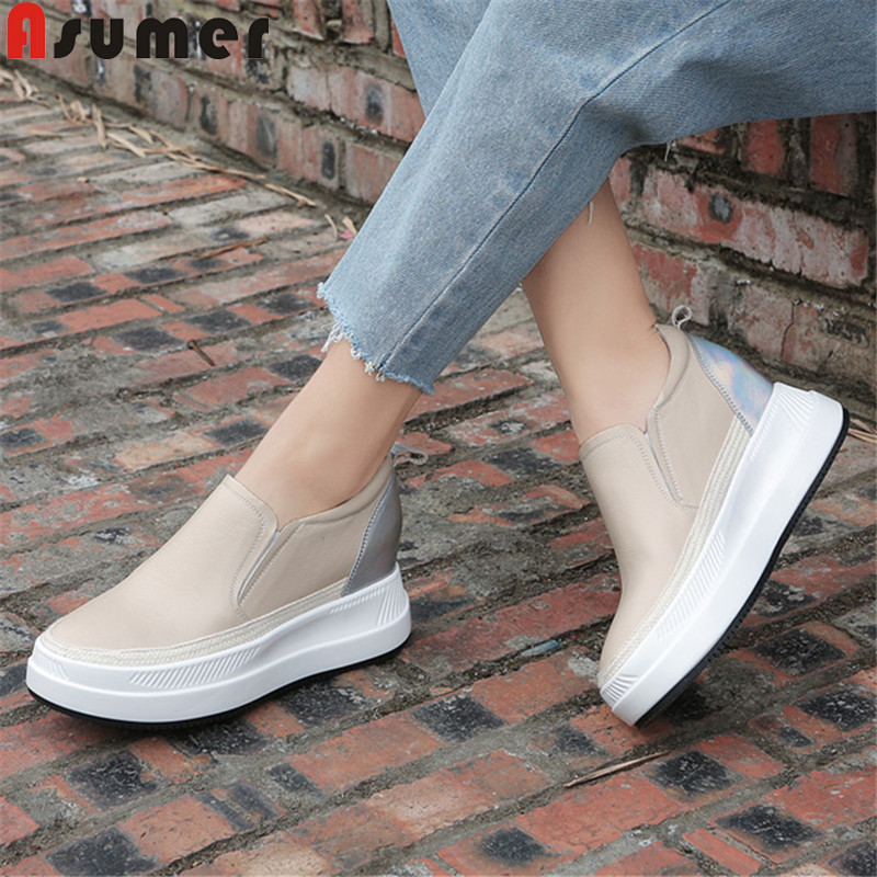 ASUMER big size 34 40 fashion spring autumn new shoes woman round toe genuine leather shoes