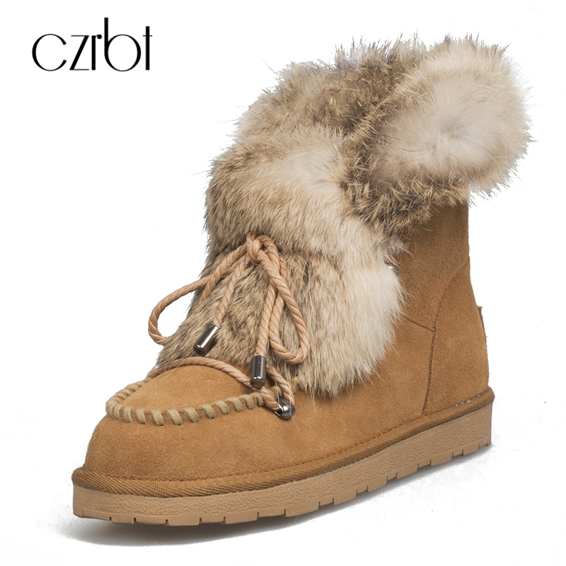 CZRBT Snow Boots Winter Handmade Women Boots Cow Suede Rabbit's Hair Ankel Boots Butterfly-knot Solid Color Casual Shoes Woman