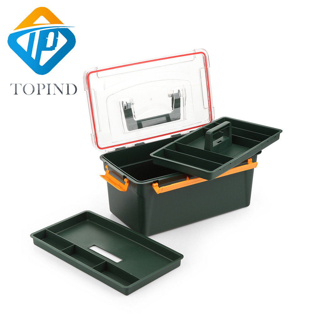 2PCS TOPIND Dark green Tackle Box (12.99x7.68x6.03 Inch)Utility Tool Storage Box Big Fishing Tackle Box tool case