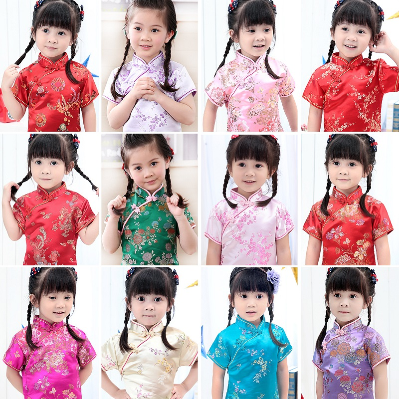 2017 Cute Girls' summer Dresses Kid Chinese chi-pao cheongsam New Year gift Party Children's Clothes Robe Baby Qipao 2017new chinese traditional baby girls chi pao cheongsam red dress new year gift children clothes kids embroidery party dresses