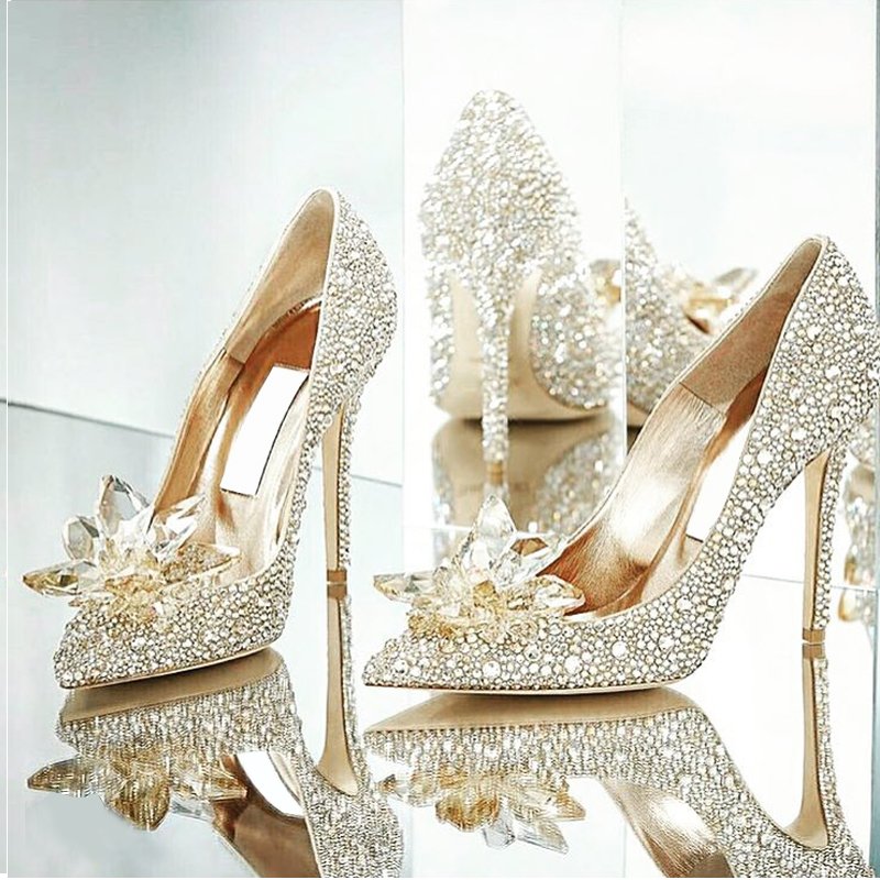 Eunice Choo Party Wedding Crystal High Heels Leather Pumps Cinderella Glass  Slipper Luxury Jeweled Rhinestone Bridal e71316cc5ae9