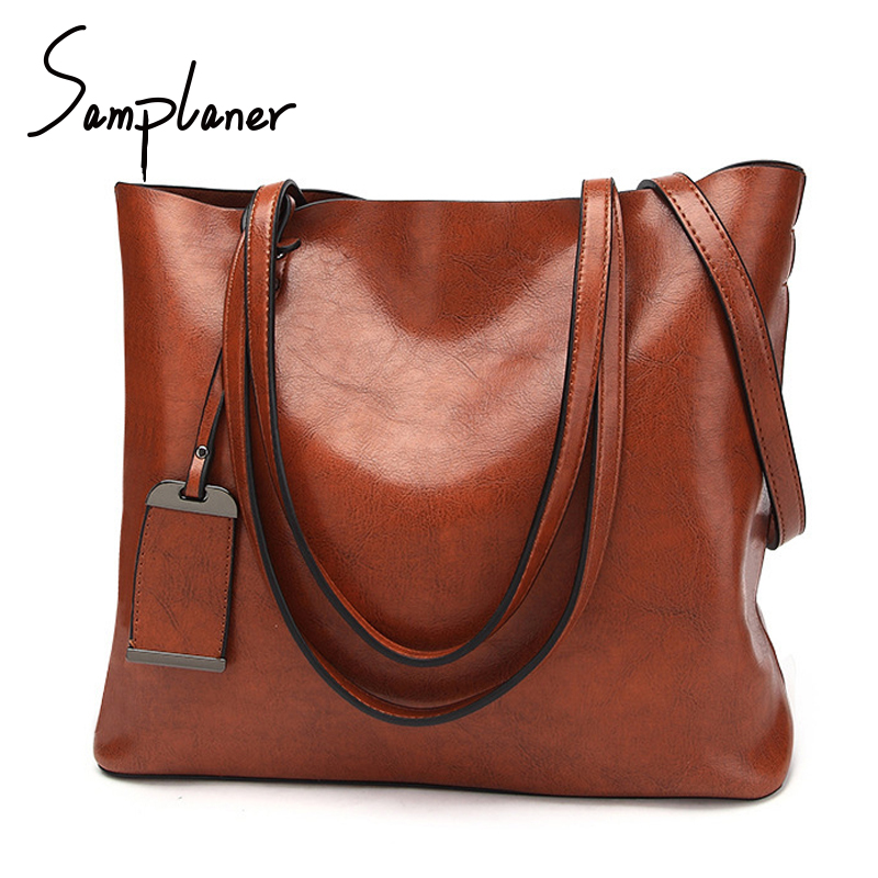 Samplaner Retro Luxury Lady Handbags Famous Brand Women's Big Bag PU Leather Female Shoulder Bags Large Capacity Women Totes lydian women classic luxury pu leather smiling face bag black handbags bat wings lady smiley totes phantom famous purse clutches