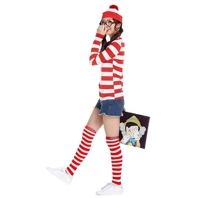04f99ebd14d Plus size Where s Wally Waldo TV Cartoon Stag Night Outfit Adult woman Red  Stripe Fancy Dress