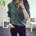 2016 Autumn Fashion Women Blouses Long Sleeve Turn-down Collar Plaid Shirts Women Casual Cotton Shirt Tops Blusas Femininas