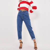 2018 New Vintage Boyfriend Fit High Waist Jeans Elastic Femme Women Dark Wash Basic Mom Skinny Jeans Loose Trouses