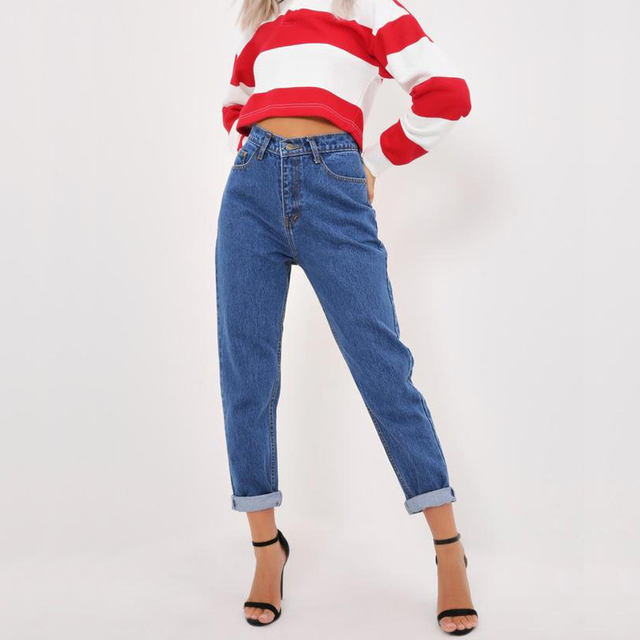 Jean woman mom jeans Pants Boyfriend jeans for women with high waist Plus size women's jeans denim trousers, solid, slim, washab