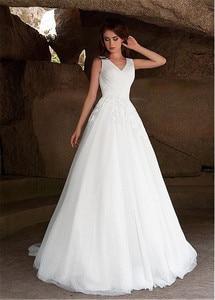 Image 4 - Fabulous Tulle V neck Neckline A line Wedding Dresses with Lace Appliques vestido de novia playa Bridal Gowns