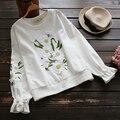 3D floral bordado estilo preppy o-pescoço manga longa pullover Camisolas mulheres outono mori menina