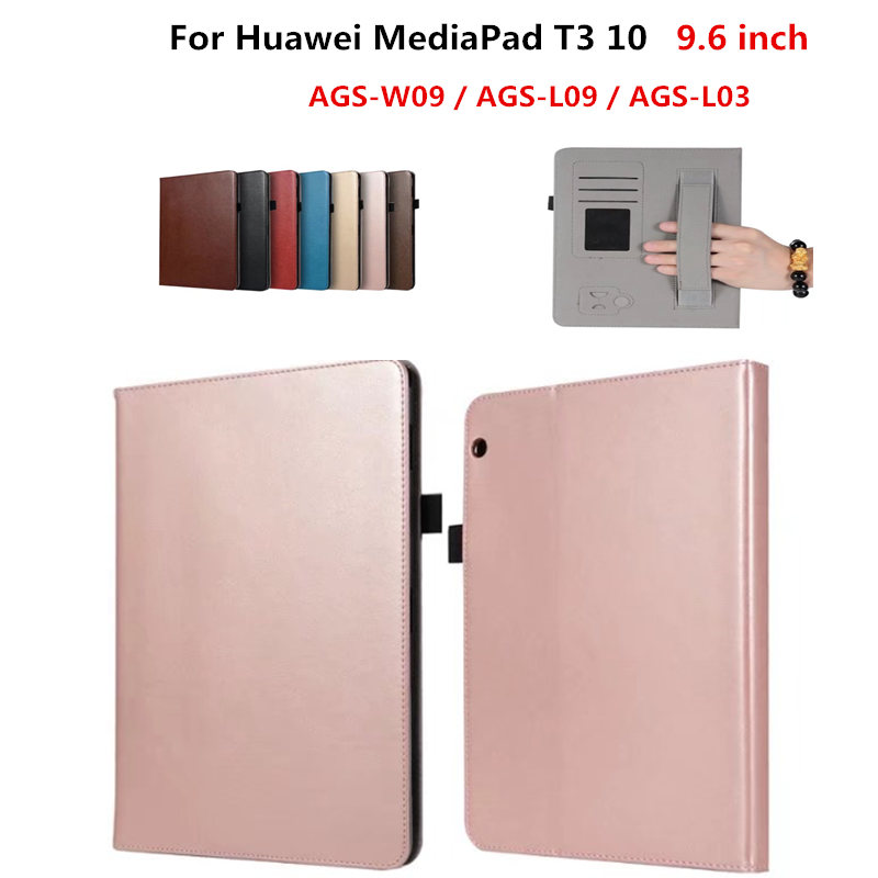 (T3 10 9.6 INCH ) PU Leather Stand Flip Book cover case For Huawei MediaPad T3 10 AGS-W09 AGS-L09 AGS-L03 9.6 '' tablet luxury business case for huawei mediapad t3 10 ags l09 ags l03 9 6 inch cover funda tablet leather hand belt holder stand shell