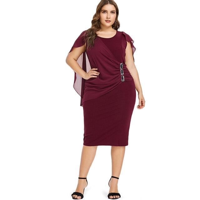 Wipalo плюс размеры со стразами Ruched Украшенные Capelet платье Лето O средства ухода за кожей шеи без рукавов для женщин платья для пр
