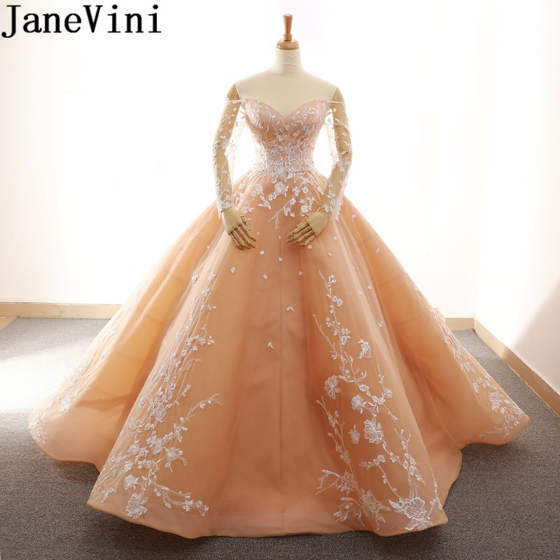 JaneVini Saudi Arabia Peach Evening Dress Plus Size Appliques Dubai Long Sleeve Mother Of The Bride Dresses Dinner Ball Gowns