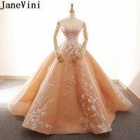 JaneVini Saudi Arabia Peach Evening Dress Plus Size Appliques Dubai Long Sleeve Mother Of The Bride Dresses Dinner Ball Gowns
