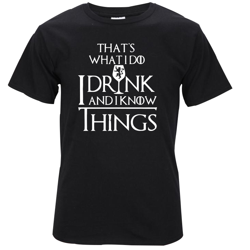 THE COOLMIND cotton casual breathable game of thrones men t shirt cool I drink and i know things printed men's t-shirt GA0131A