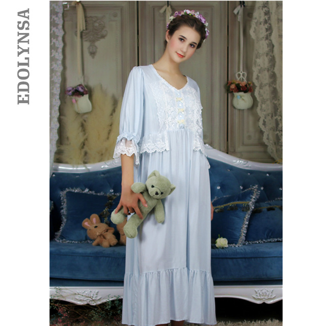 b5e02ef2 Victorian Sleepwear Long Romantic Nightgowns Women Night Clothes Lounge Wear  Sleep Shirt Vintage Home Dress Cotton Homewear T291