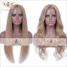 7A Glueless Brown Body Wavy Lace Front Wigs Light Golden Brown Brazilian Virgin Hair Full Lace Human Hair Wigs With Baby Hair