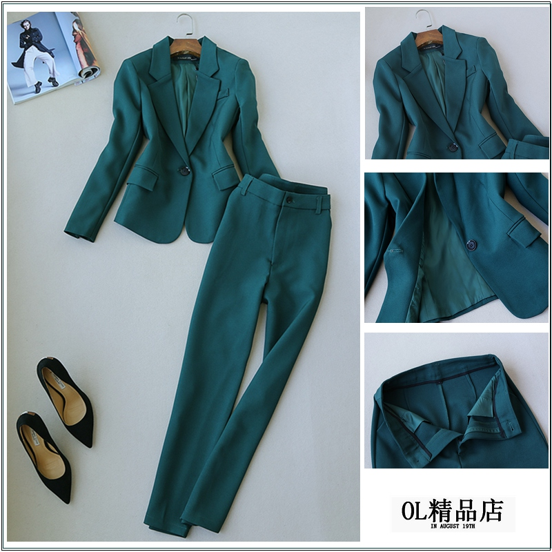 Dames Avec Formelle Ol 1 Vêtements Un Femmes Bureau Costume Pantalon De Vestes Costumes D'affaires Travail Mode Ensembles Mince UOUqP8p7