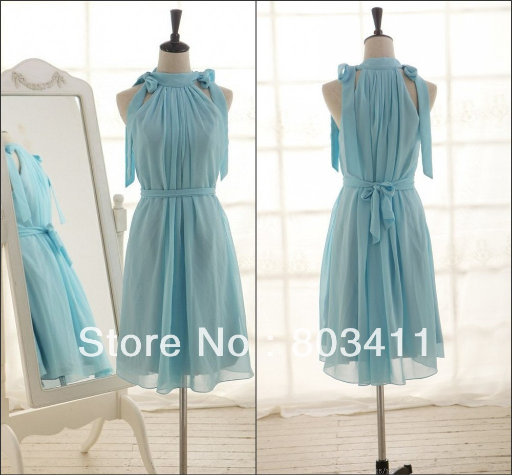 Ice Blue Chiffon   Bridesmaid     Dresses   Knee Length Short   Dress