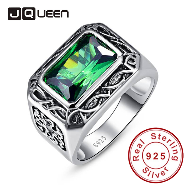 Emerald Cut Carving Flower Unisex Couple Rings Real Silver Vintage Rings Sterlin