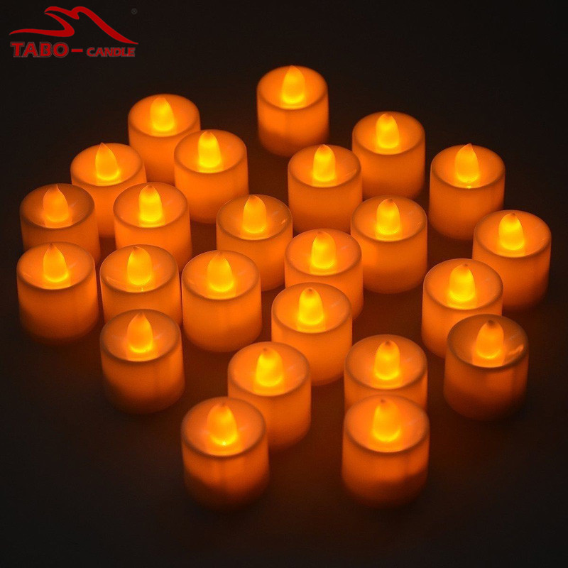 LED Flameless Yellow Candles Flickering LED Tealights Candle Battery Included for Home Decoration