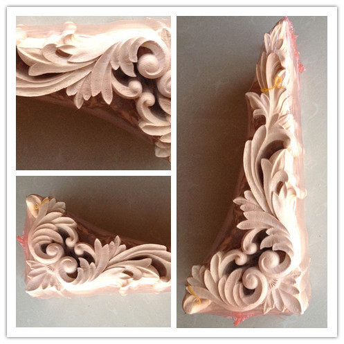 Dongyang Wood Carving Fashion Corners Applique Gate Flower Shavings Carved Furniture Bed
