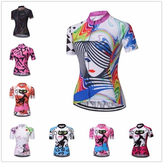 46c754cc75 Jersey de Ciclismo de la mujer Camisetas bicicleta 2018 de manga corta Pro  equipo Ropa Ciclismo