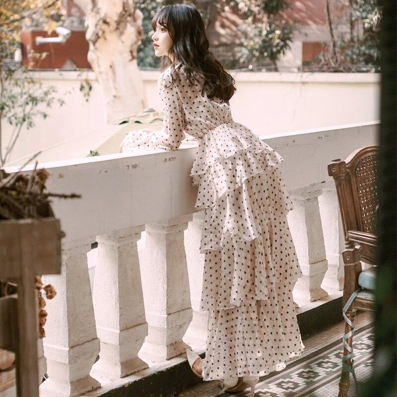 2019 neue mode frauen kleider retro laterne ärmel dot kleid temperament bankett-in Kleider aus Damenbekleidung bei  Gruppe 1