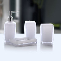 4Pcs Acrylic Bathroom Accessories Soap Dispenser Bottle Soap Dish Cup Toothbrush Holder Case MYDING