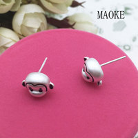 Promotional S925 Sterling Silver Zodiac Monkey Ear Studs Fashion Jewelry for Women's Fashion Gifts