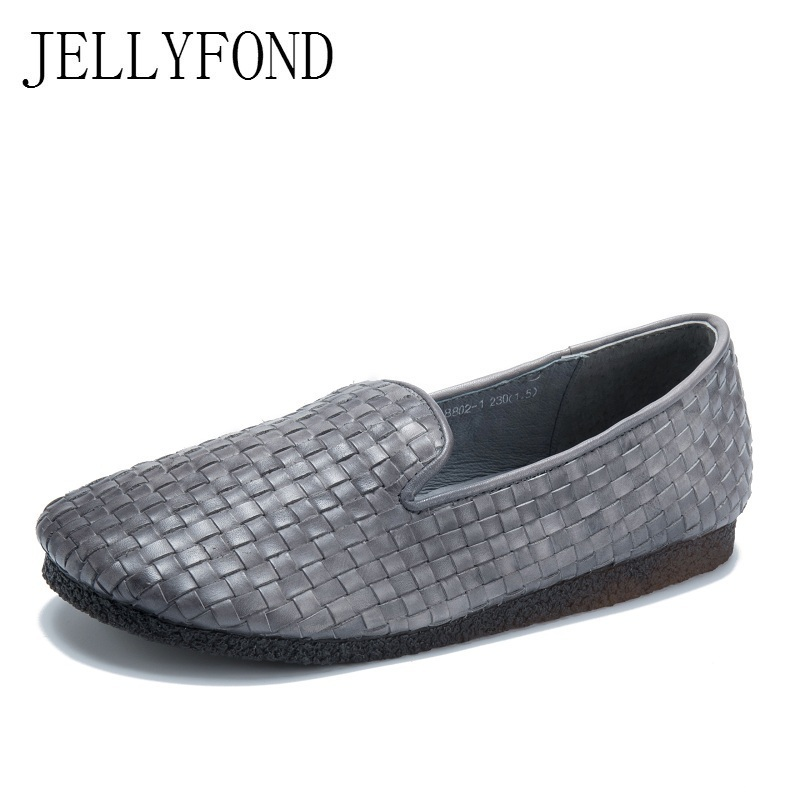 Handmade Genuine Leather Weaving Women Moccasin Flats 2018 Designer Round Toe Comfortable Driving Shoes Woman Loafers new brand men loafers genuine leather england designer business casual shoes classical male driving flats handmade moccasins