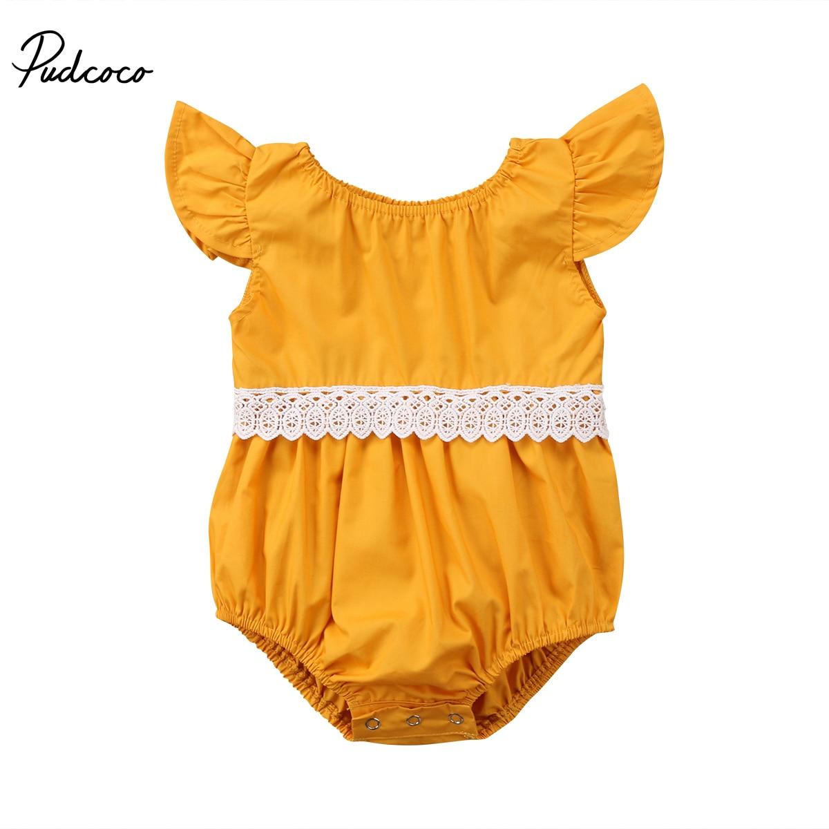 Новорожденный малыш для маленьких девочек Кружево комбинезон с рукавами-крылышками для малышей Летние Боди Пляжный наряд для 0-24 м