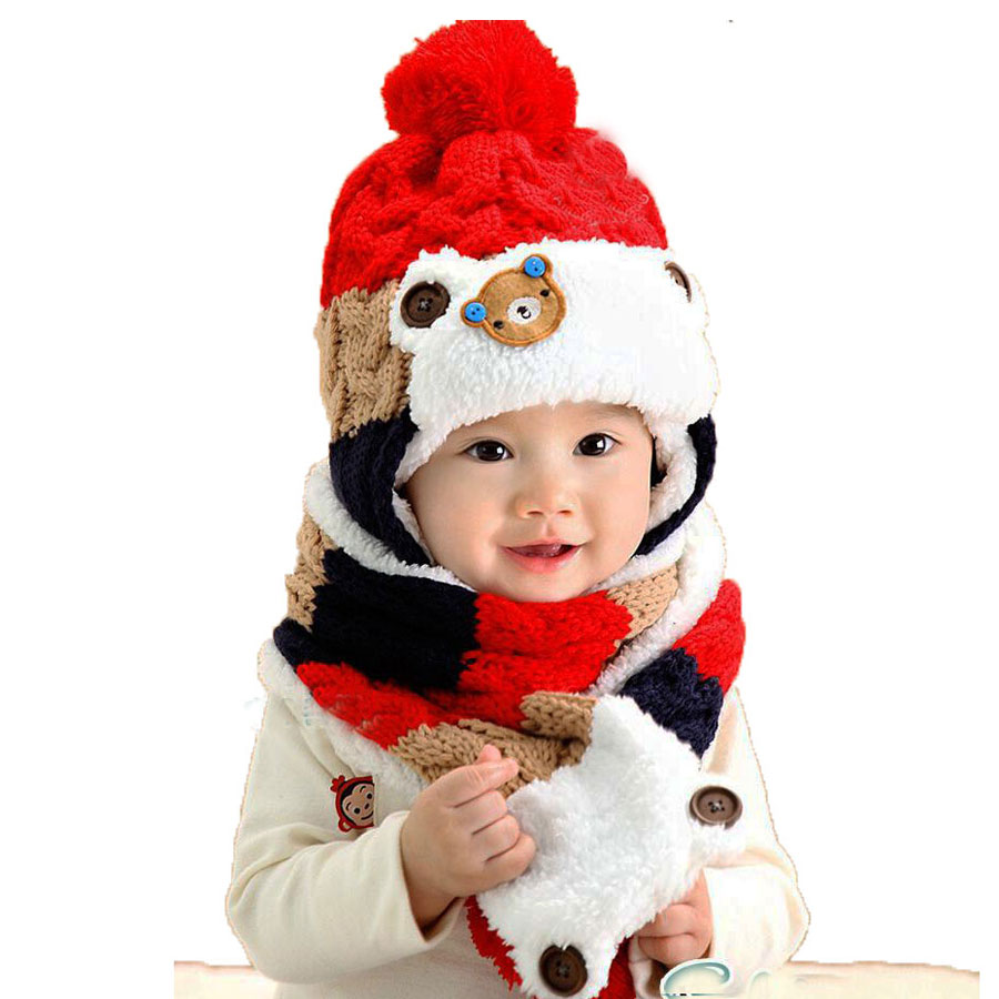 Winter Baby Hat Scarf Set For Kids Girls Boys Cartoon Beanies And Scarves Child Pom Pom Knit Cap Warm Bonnet 2 Pcs Suit M2257
