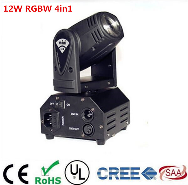 CREE 12W RGBW 4in1 moving head DMX512 light beam  LED spot Lighting Show Disco DJ Laser Light niugul dmx stage light mini 10w led spot moving head light led patterns lamp dj disco lighting 10w led gobo lights chandelier