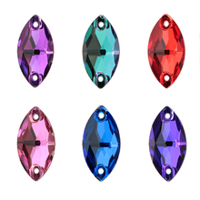 Colorful Navette AAAAA Crystal Glass Rhinestone Sewing Stone Crystal AB Flatback Strass Sew On Rhinestones For Clothing QIAO