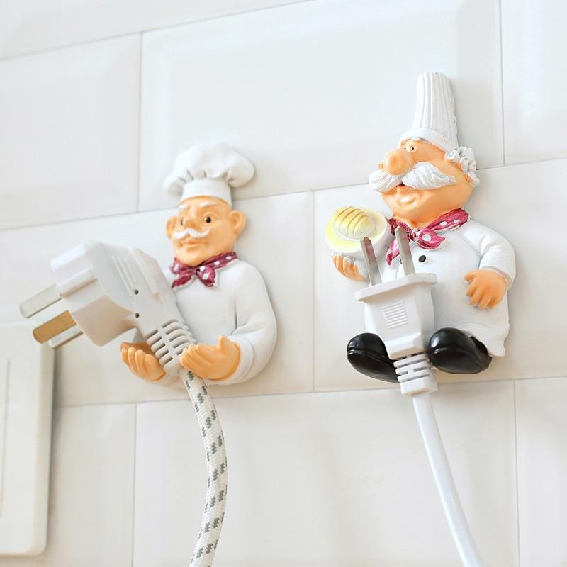 Kitchen Accessories Cartoon Cook Chef Outlet Plug Holder Cord Storage Rack Decorative Wall Shelf Key Holder Shelves Kitchen Hook