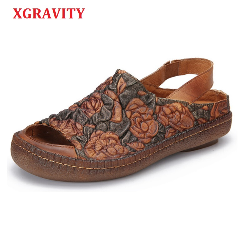 XGRAVITY 2020 Summer Shoes Sexy Genuine Leather Open Toe Dress Shoe Ladies Summer Women Flats Flat Sandals Abnormal Heels A128