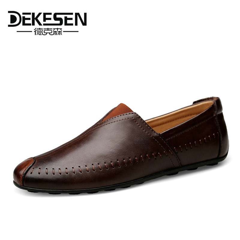 Dekesen Size 36-47 Casual shoes Mens Handmade Genuine Leather Flats Men's Boat Shoes High Quality Loafers Brand Driving Shoes amaginmni brand genuine cow leather mens loafers 2017 fashion handmade mens casual shoes breathable comfortable boat shoes men