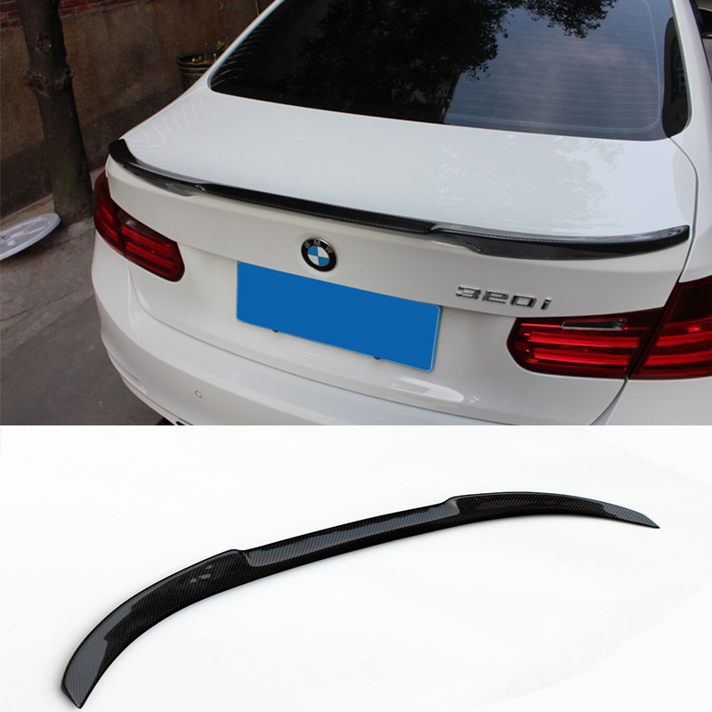 V Style F30 F80 Carbon Fiber Car Rear Trunk lip Spoiler Wing For BMW F30 F80 M3 2015-2016 hot car abs chrome carbon fiber rear door wing tail spoiler frame plate trim for honda civic 10th sedan 2016 2017 2018 1pcs