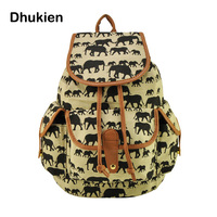 New 2015 Women Backpack Canvas Bucket Bag Fashion String Travel Backpack Elephant Animal Printing Teenage Girl