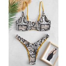 Бикини со змеей для женщин, змеиная кожа, высокий вырез, v-образный вырез, два предмета, бикини, купальник, пляжная одежда, купальный костюм, maillot de bain femme
