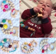 Organic Eco-friendly baby teether dummy clips Silicone and Wood Teether Cute Animal Pacifier Clip wooden beads developmental toy