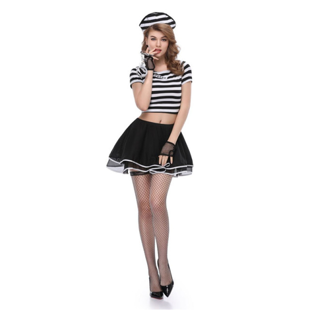 halloween women girls sexy drisoners cosplay costume dress with handcuffs rave party prison dress