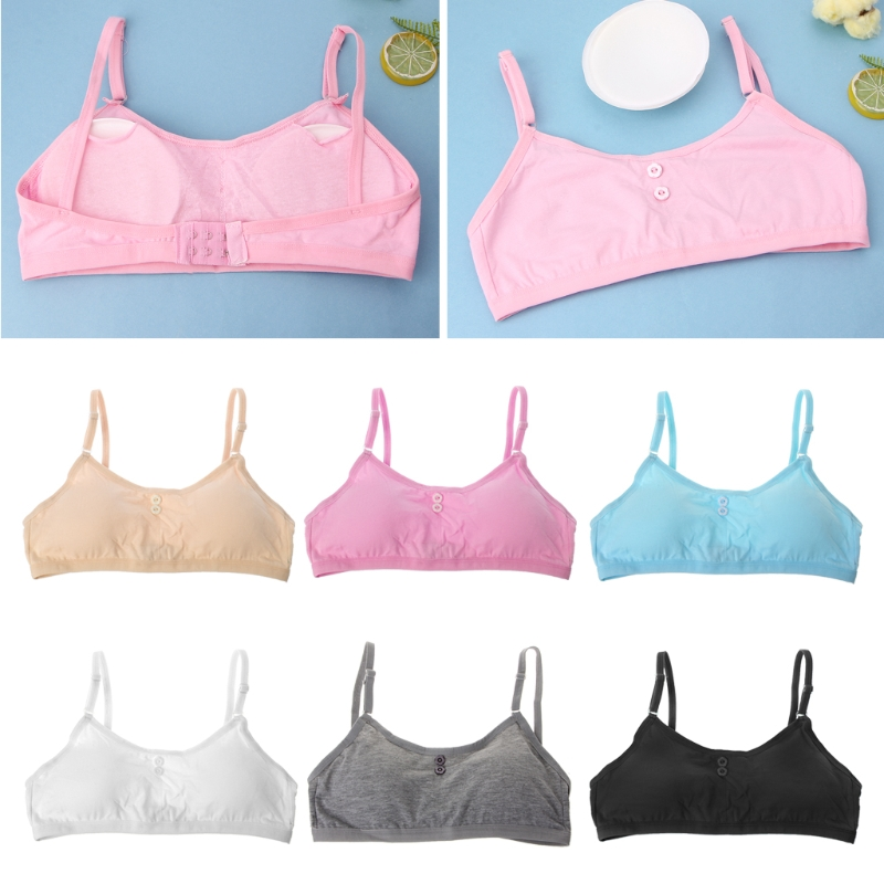 Girls' Clothing Responsible Bra Baby Girls Crop Detachable Clasp Type Cotton/spandex Solid Color Teens Teenage Puberty 8-14years Summer 1 Piece We Take Customers As Our Gods
