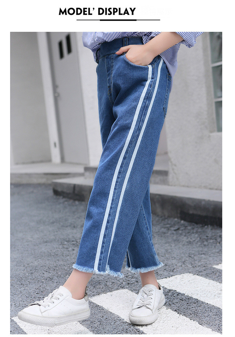 Girls 4-12 Years Spring Autumn Jeans Denim Loose Pants Casual Fashion Raw Edges Side Double Stripes Elastic Waist Jeans Trousers 8
