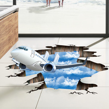 Blue sky 3D airplane Broken wall sticker Living room bathroom decoration decals home decor aircraft Floor stickers