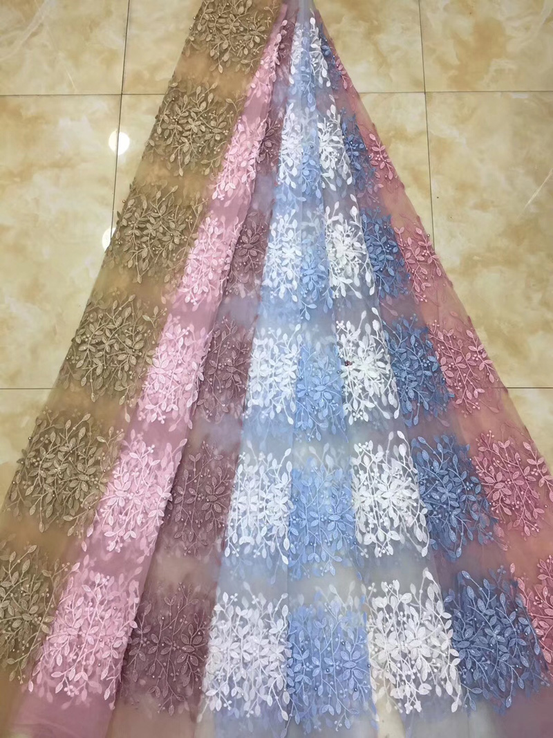 (5yards/pc) high quality African tulle lace fabric wonderful embroidered French net lace with beads for party dress FZZ060(5yards/pc) high quality African tulle lace fabric wonderful embroidered French net lace with beads for party dress FZZ060