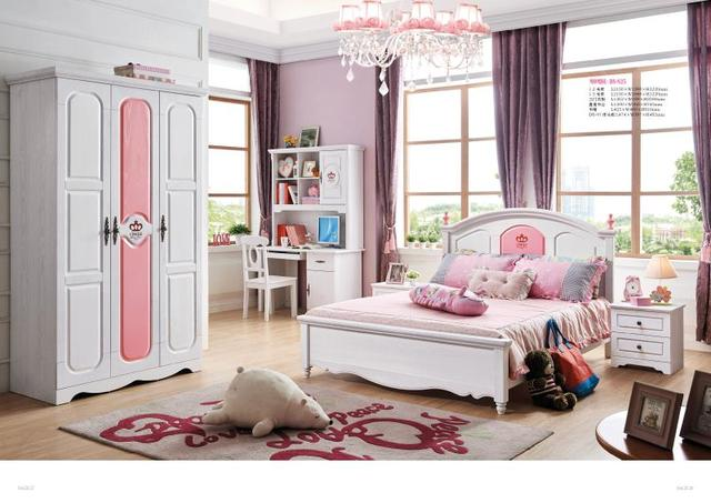 Jlmf825 Ash Solid Wood Children Bedroom Furniture Set Health Environmentally Friendly Bed Wardrobe Desk Bedside
